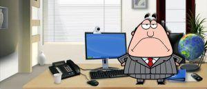 boss on his desk