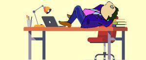 Businessman lying on desk clipart