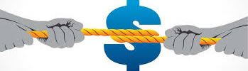 tug of war over dollar sign